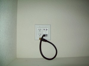 Outlet in closet (power, HDMI, 2 Coax)