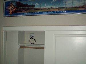 Outlet and cables in closet